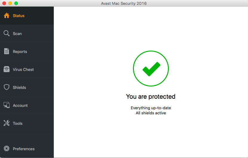 Avast Free Mac Security Main view