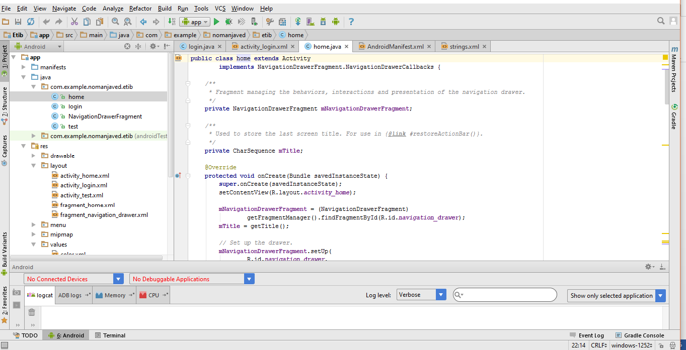 Android Studio 2.3.3 Windows Interface