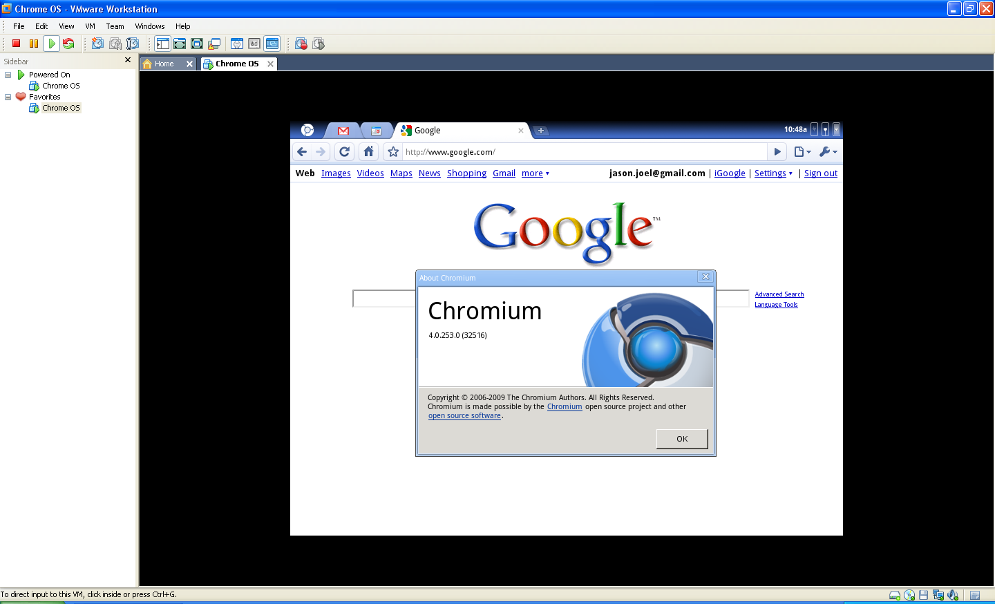 Google Chrome OS VMWare Image 2009 Free Download - OneSoftwares