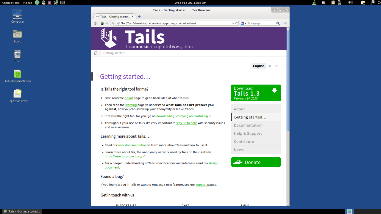 Tails 1.3 ISO for Linux and MAC